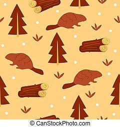 Beaver hand drawn illustration. Cute cartoon animal - seamless pattern
