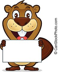 Beaver holding a blank sign