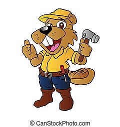 Beaver holding a hammer