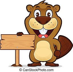 Beaver holding a wooden sign