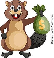 Beaver holding bag of money, illustration, vector on white background.