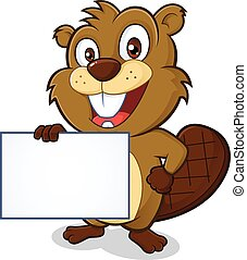 Beaver holding sign - Clipart picture of a beaver cartoon...