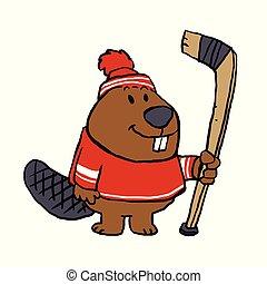 Beaver ice hockey player
