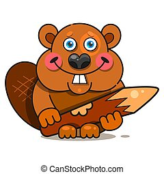 Beaver In Flat Style. Symbol, Logo Illustration. Smile