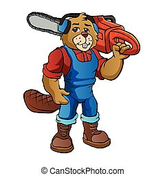 Beaver Lumberjack Cartoon Character