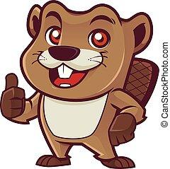 Beaver Mascot on White