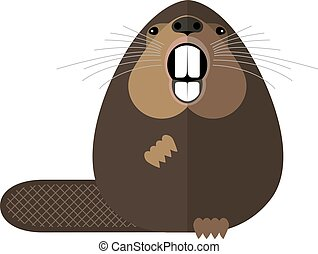 Beaver protects its territory, minimalist style on a white...