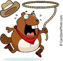 Beaver Rodeo - A cartoon beaver running with a lasso.