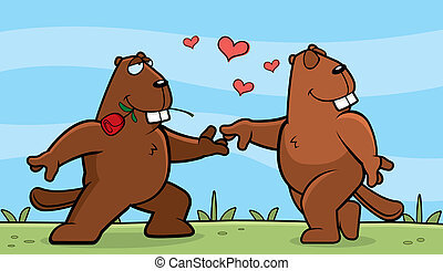 Beaver Romance - Two cartoon beavers in love with each...