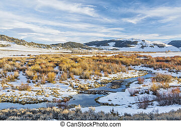beaver swamp in Rocky Mountains - winter on beaver swamp in ...