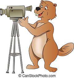 Beaver Using a Video Camera, illustration