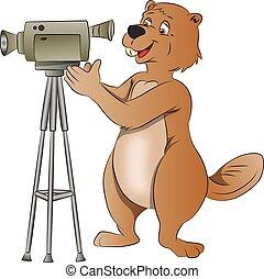 Beaver Using a Video Camera, illustration