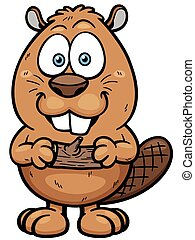 Beaver - Vector illustration of Cartoon beaver with a wood
