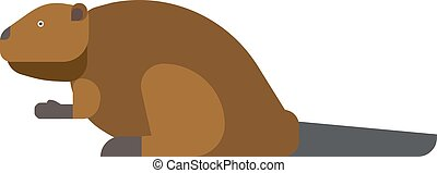beaver vector illustration. - Funny beaver illustration,...