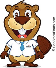 Beaver wearing a shirt and tie