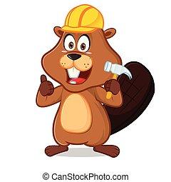 Beaver wearing helmet carrying hammer