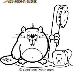 Beaver with a toothbrush and floss