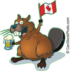 Beaver with Beer and Canadian Flag - Vector cartoon clip art...