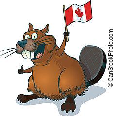 Beaver with Canadian Flag - Vector cartoon clip art of a...