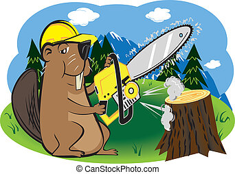 Beaver with Chainsaw - A beaver using a power tool instead...