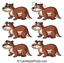 Beaver with different emotions