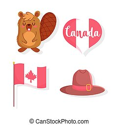 Beaver with flag heart and hat of happy canada day vector design
