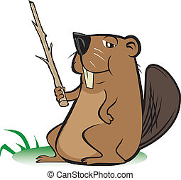Beaver with Pointer Stick - An instructional beaver pointing...
