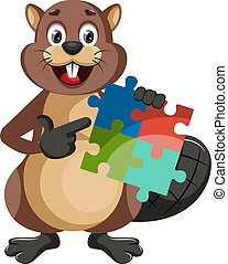 Beaver with puzzle, illustration, vector on white background.