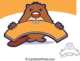 Beaver Wood Mascot - Cartoon beaver biting a wooden board