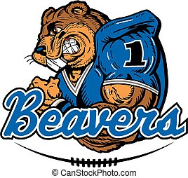 beavers football - beaver football player mascot design