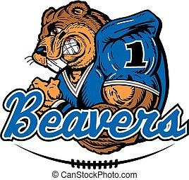 beaver football player mascot design