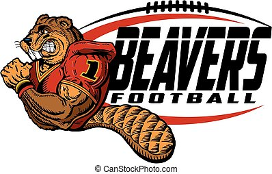 beavers football team design with mascot for school, college...