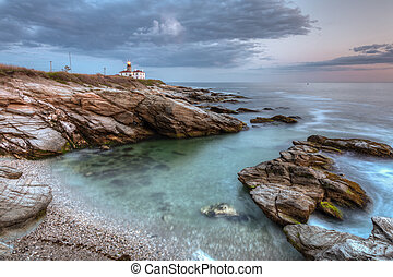 Beavertail Lighthouse at Sunset - This is a long exposure...