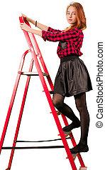 Beaytiful teen girl in checkered skirt