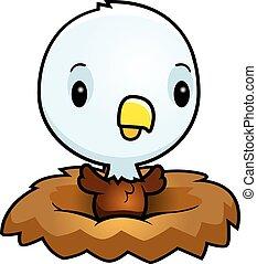 bebé, águila, nido, caricatura
