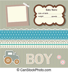 bebé, álbum de recortes, elementos