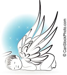 bebé, ángel, logotipo