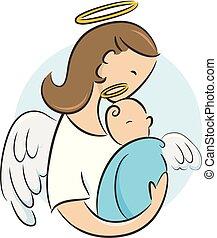 bebé, ángel, recién nacido, ilustración, guardián