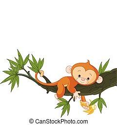 bebé, árbol, mono