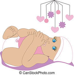bebé, 3, chupar, dedo del pie