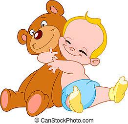 bebé, abrazo, oso