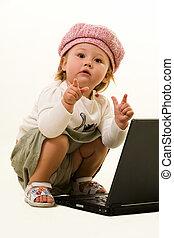 bebé, adorable, computador portatil