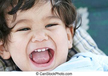 bebé, alegría, teniendo, vida