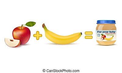 bebé, alimento, fruta,  fórmula,  infographics