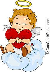 bebé, almohada, cupido