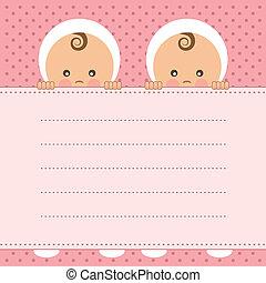 bebé, anuncio, niña, gemelos, card.