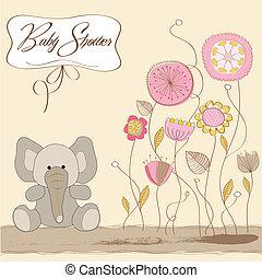 bebé, anuncio, romántico, tarjeta