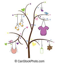 bebé, artículos, árbol