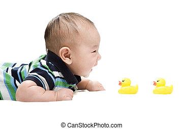 bebé, asiático