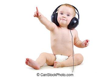 bebé, auricular
